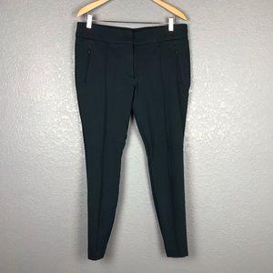 LOFT Forest Teal Green Skinny Pants Zipper Details